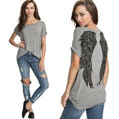 2017 Moda Asas de Anjo Impressão Tropical Feminino Camisetas mulheres Manga Curta Casual Solto lager Tamanho Encabeça Mulheres T Shirt Mulheres