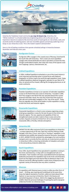 """Voted by the Trip Advisor travel community as a top 10 dream trip, Antarctica, the """"White Continent"""" is a frosted wilderness of glistening white as far as the eye can see.  Check Top Cruise Liners List Infographics."""