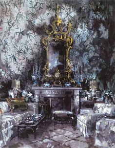 Interior - Jeremiah Goodman -  Betsey Bloomingdale's Living Room - Watercolor by…