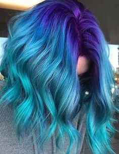Hair lengths Blue Hair Color Highlights for Medium Hair Hair color blue Blue hair Color Hair Highlights lengths medium Cute Hair Colors, Pretty Hair Color, Hair Dye Colors, Ombre Hair Color, Blue Ombre, Blue Purple Hair, Dyed Hair Blue, Blue Hombre Hair, Blue Hair Colour