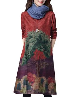 Retro Style Tree Printed Loose Elegant Long Sleeve Vintage Women Dress