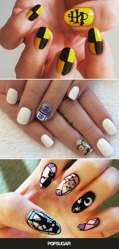 50 nail art ideas that totally show off your geeky side — including everything from Star Wars to Sailor Moon. (Admit it: Daenerys Targaryen would totally rock some dragon egg nails! Fancy Nails, Cute Nails, Pretty Nails, Nail Polish Designs, Cute Nail Designs, Star Wars Nails, Harry Potter Nails, Nagel Hacks, Finger