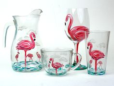 Flamingo Hand Painted Pitcher, Wine Glass, Pint, and Mug Flamingo Decor, Pink Flamingos, Wine Glass Designs, Hand Painted Wine Glasses, Pink Bird, Tropical, Pretty In Pink, Fancy, Crafty