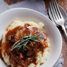 Beef stew with roasted garlic mash