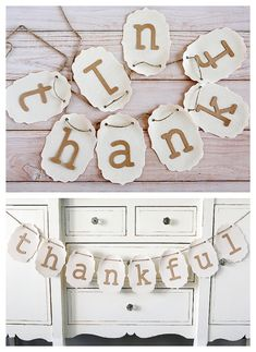Five Minute Thankful Banner. So simple to put together only takes about 5 minutes. Perfect decoration for Thanksgiving!