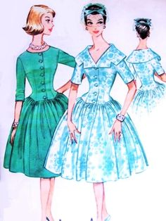 1960 Lovely Party Cocktail Dress Pattern McCalls 5500 Basque Bodice Six Gore Skirt Scoop or V Neck With Large Collar Bust 34 Vintage Sewing Pattern