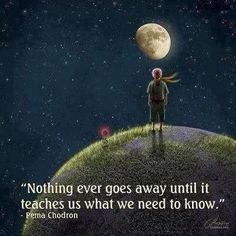 """Simple life wisdom. """"Nothing ever goes away until it teaches us what we need to know"""""""