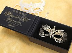 Masquerade 3D Invitation by Southern Fried Paper with custom box and gold metal mask