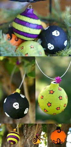 In this budget friendly, recycled Halloween craft, you'll use Mod Podge and old Christmas ornaments to make these cool Halloween ornaments! (cool crafts for halloween) Halloween Mono, Halloween Trees, Cute Halloween Costumes, Holidays Halloween, Easy Halloween, Halloween Crafts, Vintage Halloween, Holiday Crafts, Halloween Decorations