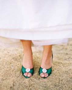 Courtney found simple white pumps and had them dyed Kelly green for a pop of color.