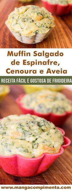 Muffin Salgado de Espinafre, Cenoura e Aveia - um petisco perfeito para o lanche da tarde! #receita #muffin #lanche