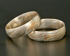 Mokume Gane rose gold white gold and silver by AnneWolfMokumeGane, $900.00