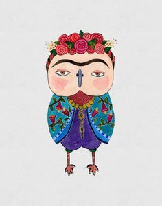 Frida Kahlo Owl Watercolor Art Print 8x10 inches por EveDevore