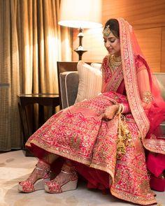 Kinas Designer Represent this Beautiful Designer Bridal Lehenga Choli in 2019 Pink Bridal Lehenga, Indian Wedding Lehenga, Designer Bridal Lehenga, Indian Lehenga, Lehenga Choli, Pakistani Bridal, Indian Weddings, Indian Bridal Outfits, Indian Bridal Fashion