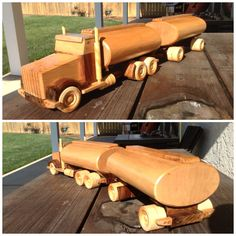 Maple and walnut toy tanker truck