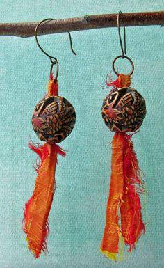 Carved Dragon Bird Bead and Sari Silk Earrings OOAK by expostfacto, $20.00
