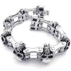 45c40fd9188db Bracelet Homme Konov – Lourd Gothique Tribal Biker Tête de mort – Acier  Inoxydable – Fantaisie