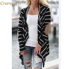 New Arrival winter jacket  2017 fashion Women Irregular Stripe Shawl Kimono Cardigan Tops Cover Up #Affiliate