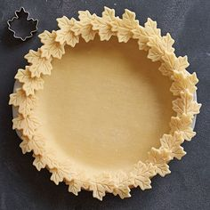 "Leaf Pie Crust - The Pampered Chef®.  There are many create pie crusts you can create using a variety of tools.  Check it out on my website.  Search ""pie"" to see all the designs."