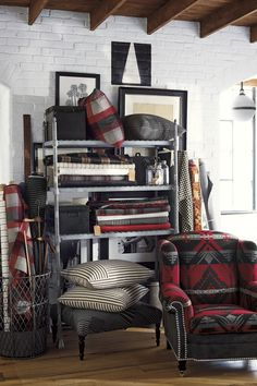 Ralph Lauren Home's West Village Fabric Collection celebrates an artistic spirit, mixing vintage trading blankets with patchwork patterns and plaids