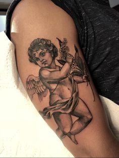 Apr 2019 - Cherub by Janik Perreault at Imperial Tattoo Connexion in MontrÃ. - Apr 2019 – Cherub by Janik Perreault at Imperial Tattoo Connexion in Montréal Canada La mej - Tattoos 3d, Girl Neck Tattoos, Dope Tattoos, Badass Tattoos, Sleeve Tattoos, Shaded Tattoos, Tatoos, Cherub Tattoo Designs, Tattoo Designs Foot