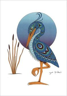 Joe Wilson Salish Art Card Design SNE Ke Blue Heron