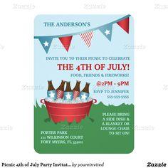 """Picnic #4thofJuly #PartyInvitations 4.5"""" X 6.25"""" Invitation Card"""