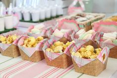 FOOD, SWEETS, BUFFET ~~ LOVE these Popcorn Baskets!! || This beautiful ENCHANTED GARDEN THEMED THIRD BIRTHDAY PARTY was submitted by Andreia Lopes of Fête à Porter – Festas de Charme. via Kara's Party Ideas KaraspartyIdeas.com #gardenparty #butterflyparty  @Kara's Party Ideas .com