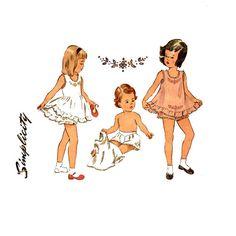 Girls 1940s Panties and Slip Pattern Simplicity 2558 28 Breast Childrens Vintage Sewing Pattern Underwear Full Slips Yoked Panties Lingerie