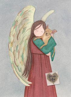 Chihuahua (beige / fauve) avec ange signé Lynch, impression d'art populaire Chihuahua Art, Brown Chihuahua, Animal Line Drawings, Art Populaire, Angel Art, Rainbow Bridge, Pet Memorials, Dog Art, Dog Love