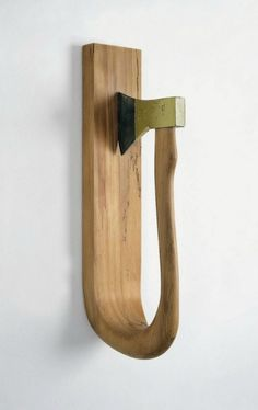 "Timm Ulrichs: ""Ins eigene Fleisch"", 1972 Would be supercool if the blade was cutting the wood that holds it. Wooden Projects, Wood Crafts, Diy And Crafts, Wooden Art, Wood Wall Art, Muebles Estilo Art Nouveau, Wood Sculpture, Wood Design, Wood Turning"