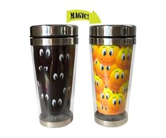 Starting your day with a smile is not always easy...until now! You'll love taking this smiley faces heat changing travel mug off to work in the mornings! When cold, the mug appears black with lots of sets of eyes looking at you...then add some hot liquid and watch as lots of yellow smiley faces appear!