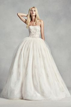 White by Vera Wang Tulle Beaded Lace Wedding Dress VW351212