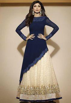 Blue Georgette Anarkali Salwar Kameez..@ fashionsbyindia.com #designs #indian…