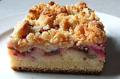 Rhabarber - Streuselkuchen. My mom and Oma makes this a lot! But it's sometimes blueberry or cherry