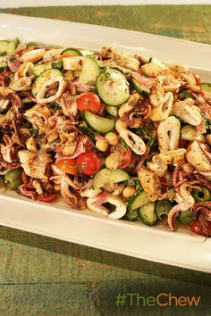 This Grilled Calamari Chopped Salad with Chickpeas, Olives & Salami is a perfect dish for dinner!