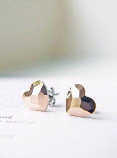 Rose Gold Heart Titanium Earrings Swarovski Crystal