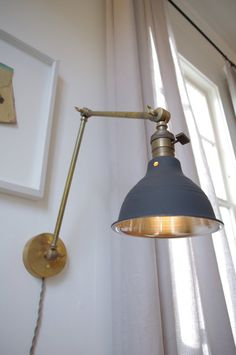 Articulating Industrial Wall Lamp - O.C. White Style Scissor Lamp - Steampunk Lamp Light - Brass Lamp with Gas Station Style Gray Shade