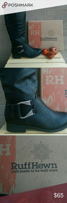 RuffHewn Boots These are black knee high RuffHewn boots with a one inch heel and an inner side zipper. They have a brushed silver buckle on the side. Ruff Hewn Shoes Over the Knee Boots