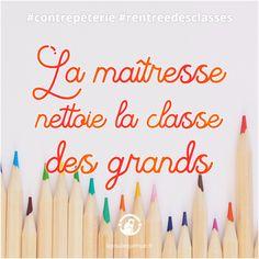🐔 La maîtresse nettoie la classe des grands #contrepèterie #lapoulequimue #rentree Solution, Art Supplies, Pencil, Back To School, Cleanser