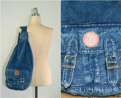80s denim backpack / 1980s stonewash knapsack by dustyrosevintage, $46.00