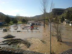 Río Duratón desbordado a su paso por la Villa de Fuentidueña