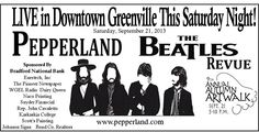 Come and check out the Greenville IL #ArtWalk this Saturday with the performance of the #Peperland #TheBeatles #Revue