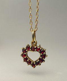 Antique Bohemian Garnet Heart Pendant Necklace by jujubee1 on Etsy