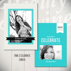 Senior Announcement Card Template: Time To Celebrate A - 5x7 Graduation Card Template. $6.00, via Etsy.