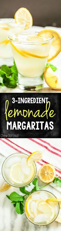 3-Ingredient Lemonade Margaritas. A crowd pleasing, super easy drink you can make ahead.