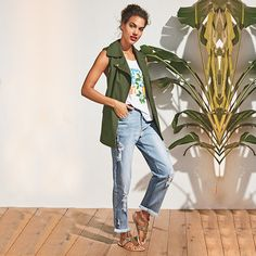 By Avon Tropic Cargo Vest, Tropics Like It's Hot Tank, Distressed Girlfriend Jean, and Tropical Treasure Sandals! Avon Fashion, Fashion Beauty, Womens Fashion, Casual Outfits, Summer Outfits, Fashion Outfits, Summer Clothes, Cargo Vest, Girlfriend Jeans