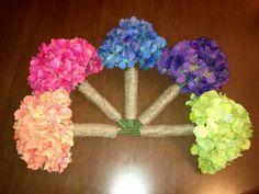 Bridesmaid bouquets with burlap wrap :  wedding blue bouquet bridesmaids diy flowers green orange pink purple teal Bmbouquets