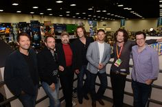 Misha Collins, Mark Sheppard, Jim Beaver, Jared Padalecki, Jensen Ackles, Ben Edlund, and Jeremy Carver candid at ComicCon