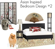 Asian Inspired Bedroom Design in red and beige with a black bed, pagoda lamp, cherry blossom screen, large paper fan on the wall, and Crate & Barrel furniture. Pomeranian optional, but highly recommended. :)